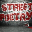 Graffiti wall with poetry, street background — Foto Stock