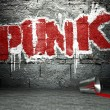 Graffiti wall with punk, street background — Stock Photo