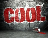 Graffiti wall with cool, street background — Stock Photo