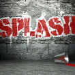 Stock Photo: Graffiti wall with splash, street background