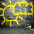 Stock Photo: Graffiti wall with sun and cloud sign, street background