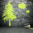 Graffiti wall with tree sign, street background — Stock Photo #18650247