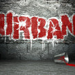 Stock Photo: Graffiti wall with urban, street background