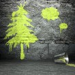 Graffiti wall with tree sign, street background — Stock Photo #18656277