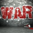 Graffiti wall with war, street background — Stock Photo