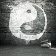 Graffiti wall with yin yang, street background — Stock Photo #18656393