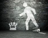 Graffiti wall with symbol of power, street background — Stock Photo