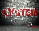 Graffiti wall with system, street background — Stock Photo