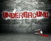 Graffiti wall with underground, street background — Stock Photo