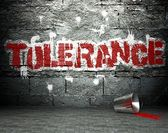 Graffiti wall with tolerance, street background — Stock Photo
