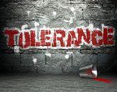 Graffiti wall with tolerance, street background — Stock Photo