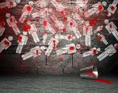 Graffiti wall with war symbol, street background — Stock Photo