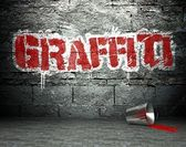 Graffiti wall with word, street background — Stock Photo