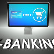 Screen and buying with word E-banking, E-commerce — Foto Stock