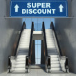 Stock Photo: Moving escalator stairs in mall, super discount sign