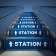 Moving escalator stairs to station, concept — Foto Stock
