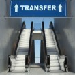 Moving escalator stairs in airport, transfer sign — Stock Photo