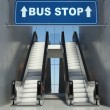 moving escalator stairs in building, bus stop sign — Stock Photo