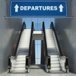 Moving escalator stairs in airport, departures sign — Stock Photo #19732483