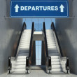 Moving escalator stairs in airport, departures sign — Stock Photo