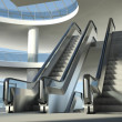 Moving escalator and modern office building — Stock Photo #19732893