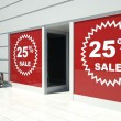 Stock Photo: 25 percent sale on shopfront windows and escalator