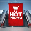 Royalty-Free Stock Photo: Hot promo advertising flag and escalator