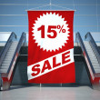 15 percent sale advertising flag and escalator — Foto de Stock