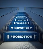 Moving escalator stairs to promotion, concept — Stockfoto