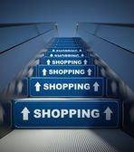 Moving escalator stairs to shopping, concept — Stok fotoğraf