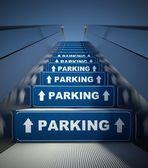 Movendo-se a escada rolante para estacionamento, conceito — Foto Stock