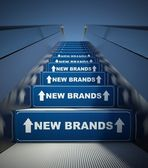 Moving escalator stairs to new brands, concept — Stok fotoğraf