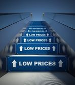 Moving escalator stairs to low prices, concept — Stock Photo