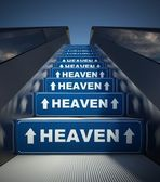 Moving escalator stairs to heaven, concept — 图库照片