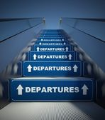 Moving escalator stairs to departures, airport concept — Stock Photo