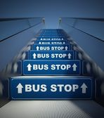 Moving escalator stairs to bus stop, concept — Stok fotoğraf