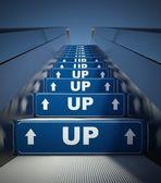 Bewegende roltrap trappen, teken — Stockfoto