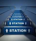 Moving escalator stairs to station, concept — Stock Photo