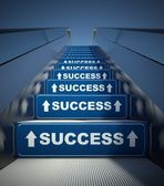 Moving escalator stairs to success, concept — Stock Photo