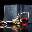 Stock Photo: Old leather book cover wilted rose reflected