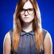 Strict young woman with nerd glasses - Foto de Stock