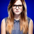 Portrait of strict young woman with nerd glasses — Stock Photo