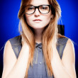 Portrait of strict young woman with nerd glasses - Foto de Stock