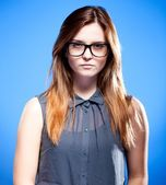 Focused young woman with nerd glasses, strict girl — Stock Photo