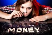 Woman snorting cocaine or amphetamines, money addiction — Stock Photo