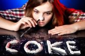 Woman snorting cocaine or amphetamines, coke addiction — Stock Photo