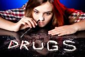 Woman snorting cocaine or amphetamines, drug addiction — Stock Photo