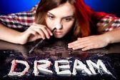 Woman snorting cocaine or amphetamines, coke dream — Stock Photo