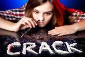 Woman snorting cocaine or amphetamines, crack addiction — Stock Photo