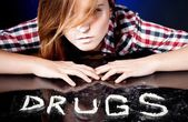 Young woman with drug addiction — Stock Photo